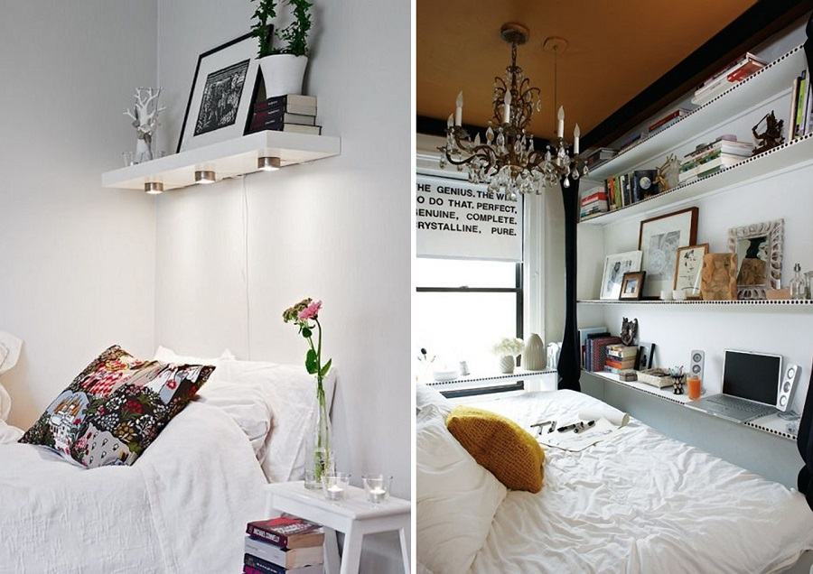 floating shelving tiny bedroom hack